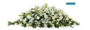 White Deluxe funeral Flower arrangement on coffin