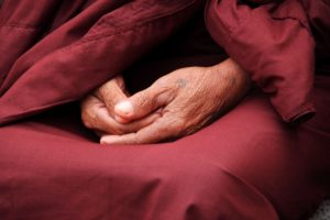 buddist funeral hands of monk